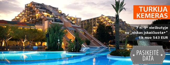 """Atsipalaiduokite nuo visų rūpesčių: atostogos TURKIJOJE! Savaitė su šeima kokybiškame 5* viešbutyje su  """"viskas įskaičiuota+"""" - tik nuo 385 EUR! Kelionės data: 2019 m. balandžio 6 d."""