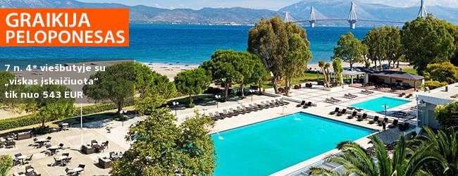 BAMBADIENIŲ PASIŪLYMAS! Vaizdingas ir ramus poilsis PELOPONESE, Graikijoje! Savaitė labai gerame 4* viešbutyje PORTO RIO HOTEL su pusryčiais ir vakarienėmis - tik nuo 371 EUR! Kelionės data: 2018 m. rugsėjo 8 d.