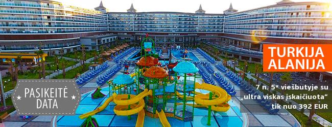"""Mėgaukitės ramiomis atostogomis su šeima Alanijos regione TURKIJOJE! Savaitė daug pramogų siūlančiame 5* viešbutyje su """"ultra viskas įskaičiuota"""" - tik nuo 377 EUR! Kelionės data: 2019 m. balandžio 12 d."""