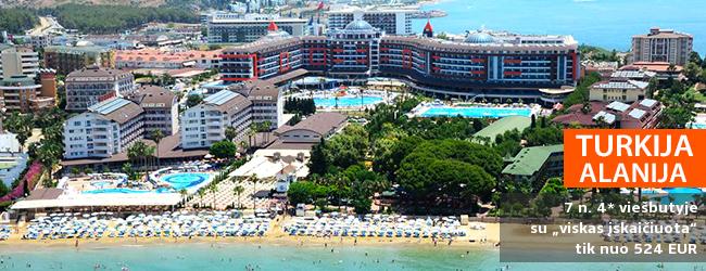 """Praleiskite gaivias atostogas ant jūros kranto Alanijos regione, TURKIJOJE! Savaitės poilsis su šeima labai gerame 4* viešbutyje LONICERA WORLD su """"viskas įskaičiuota"""" - tik nuo 389 EUR! Kelionės data: 2019 m. balandžio 13 d."""