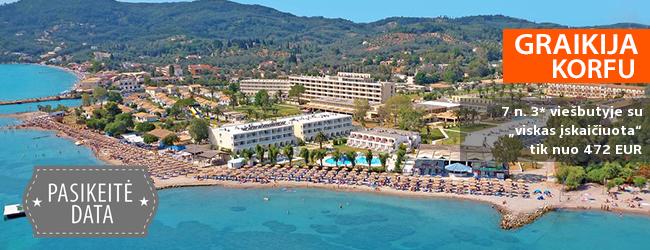 """Atostogos su šeima kontrastingoje KORFU saloje! Savaitės poilsis jaukiame 3* viešbutyje su """"viskas įskaičiuota"""" – tik nuo 259 EUR! Kelionės data: 2018 m. gegužės 26 d."""
