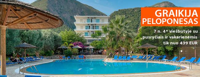 Jaukios atostogos gamtos apsuptyje PELOPONESE, Graikijoje! Savaitės poilsis 4* viešbutyje su pusryčiais ir vakarienėmis - tik nuo 334 EUR! Kelionės data: 2018 m. rugsėjo 1 d.