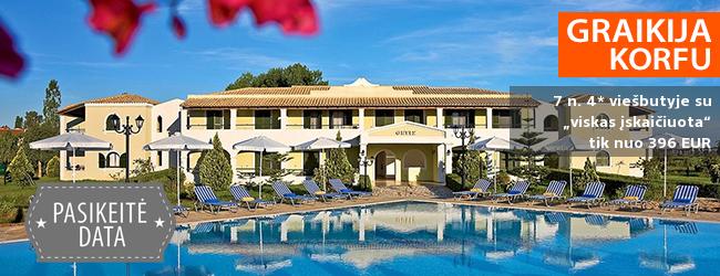 """Pramogos ir poilsis su šeima KORFU saloje! Savaitė 4* viešbutyje ant jūros kranto su """"viskas įskaičiuota"""" – tik nuo 589 EUR! Kelionės data: 2018 m. rugsėjo 29 d."""