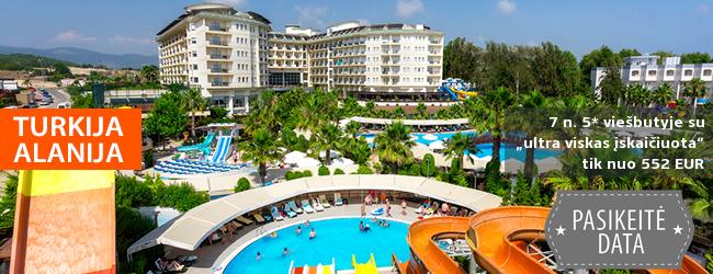 """Aktyvios pramogos ir poilsis prie jūros TURKIJOJE! Savaitės poilsis puikiai vertinamame 5* viešbutyje MUKARNAS SPA RESORT """"ultra viskas įskaičiuota"""" - vos nuo 413 EUR! Išvykimo data: 2018 m. gegužės 31 d."""