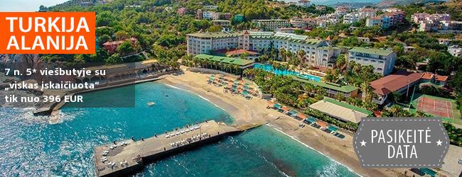 """Turiningai praleiskite atostogas žydros jūros pakrantėje TURKIJOJE! Savaitė gerame 5* viešbutyje KEMAL BAY su """"viskas įskaičiuota"""" - vos nuo 285 EUR! Išvykimo data: 2018 m. gegužės 29 d."""