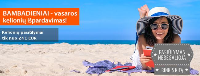 Vasaros sezono išpardavimas - išskirtiniai kelionių pasiūlymai tik šią savaitę! Šiandien puikiomis kainomis: Turkija, Italija, Bulgarija, Graikija, Portugalija - kelionės tik nuo 241 EUR!