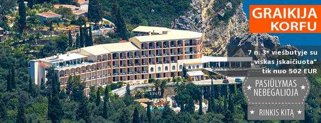 """Vaizdingas poilsis KORFU saloje! Savaitė ant kalno įsikūrusiame 3* viešbutyje su """"viskas įskaičiuota"""" – tik nuo 829 EUR! Kelionės data: 2018 m. rugsėjo 26 d."""
