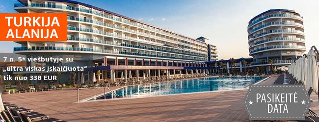 """Kerintis poilsis prie jūros Alanijos regione, TURKIJOJE! Savaitės atostogos su šeima puikiame 5* viešbutyje su """"ultra viskas įskaičuota"""" – tik nuo 524 EUR! Kelionės data: 2018 m. rugsėjo 14 d."""