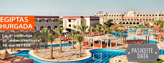 """Šiltos žiemos atostogos su šeima EGIPTE, Hurgadoje! Savaitės poilsis labai gerame 5* viešbutyje ant jūros kranto su """"viskas įskaičiuota"""" tik nuo 635 EUR! Išvykimas: 2018 m. gruodžio 6 d."""