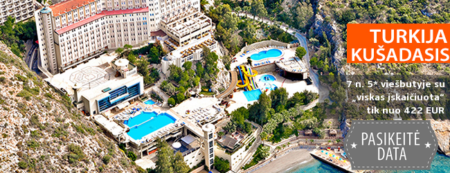 """Atpalaiduojančios atostogos kalnų ir jūros apsuptyje TURKIJOJE! Savaitės poilsis puikiame 5* viešbutyje ALKOCLAR ADAKULE HOTEL su """"viskas įskaičiuota"""" - nuo 487 EUR! Data: 2018 m. rugpjūčio 31 d."""