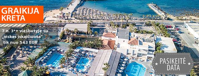 """Atsipūskite nuo kasdienybės KRETOS saloje, GRAIKIJOJE! Savaitės poilsis labai gerai keliautojų vertinamame 3*+ viešbutyje su """"viskas įskaičiuota"""" - tik nuo 349 EUR! Išvykstame 2019 m. gegužės 2 d."""