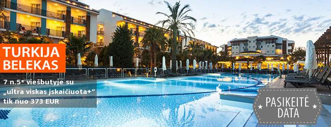 """Saulėtas atokvėpis su šeima TURKIJOJE, Beleko kurorte! Savaitės trukmės atostogos 5* viešbutyje ant jūros kranto su """"ultra viskas įskaičiuota""""  — tik nuo 310 EUR! Kelionės data: 2019 m. balandžio 8 d."""