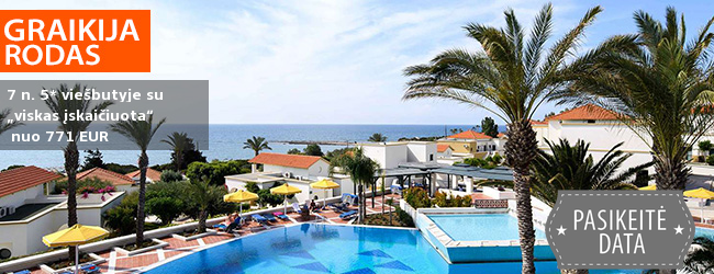 """Vasaros sezoną pradėkite saulėtomis atostogomis GRAIKIJOJE! 7 n. poilsis Rodo saloje, puikiai vertinamame 5* viešbutyje su """"viskas įskaičiuota"""" – tik nuo 503 EUR! Kelionės data: 2019 m. gegužės 13 d."""