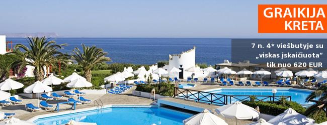"""Atostogoms rinkitės žavingąją KRETOS salą! Savaitės poilsis GRAIKIJOJE, 4* viešbutyje ant jūros kranto su """"viskas įskaičiuota"""" – tik nuo 408 EUR! Kelionės data: 2019 m. gegužės 8 d."""