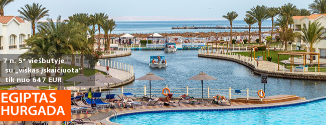 """Šaltas žiemos dienas praleiskite po karšta Egipto saule! Savaitės atostogos 5* viešbutyje ant jūros kranto su """"viskas įskaičuota"""" – tik nuo 525 EUR! Kelionės data: 2018 m. gruodžio 1 d."""