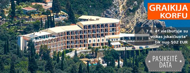 """Vaizdingas poilsis KORFU saloje! Savaitė ant kalno įsikūrusiame 4* viešbutyje su """"viskas įskaičiuota"""" – tik nuo 423 EUR! Kelionės data: 2019 m. gegužės 20 d."""