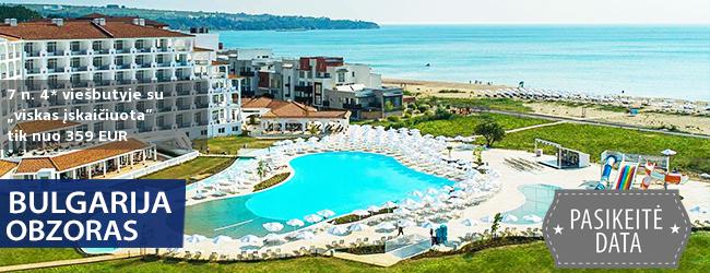 """Smagios šeimos atostogos Obzore, BULGARIJOJE! Savaitės poilsis naujame 4* viešbutyje ant jūros kranto su """"viskas įskaičiuota"""" – tik  nuo 308 EUR! Kelionės data: 2019 m. gegužės 22 d."""