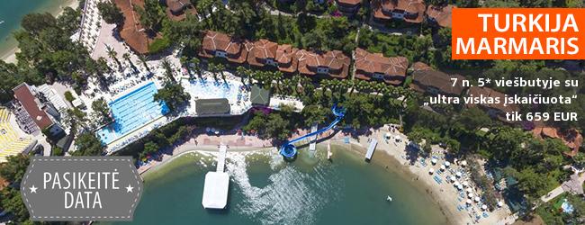 """Atpalaiduojantis vasaros poilsis Marmario regione, TURKIJOJE! Savaitės atostogos puikiame 5* viešbutyje ant jūros kranto su """"ultra viskas įskaičiuota"""" – nuo 522 EUR! Kelionės data: 2019 m. rugsėjo 10 d."""
