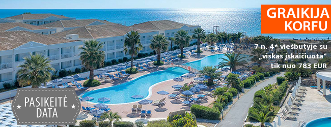 """Smagios šeimos atostogos KORFU saloje, Graikijoje! Savaitės poilsis 4* viešbutyje ant jūros kranto su """"viskas įskaičiuota"""" – nuo 425 EUR! Kelionės data: 2019 m. gegužės 13 d."""