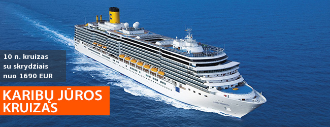 Praleisk svajonių atostogas KARIBŲ jūros KRUIZE! 10 naktų prabangiame laive COSTA DELIZIOSA – nuo 1690 EUR! Į kainą įskaičiuoti skrydžiai! Kelionės data: 2019 m. vasario 20 d.