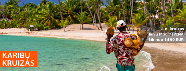 Žiemą ten, kur šilta! 12 n. kruizas MSC Divina laivu Karibuose, aplankant Arubą, Kurasao, Jamaiką, Kaimanų salas. Tik – nuo 1480 EUR! Į kainą įskaičiuoti skrydžiai! Išvykimas: 2019 m. gruodžio 5 d.
