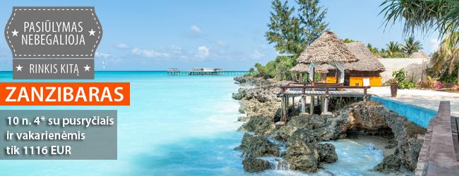 Egzotiškasis Zanzibaras! 10 n. 4* viešbutyje su pusryčiais ir vakarienėmis tik 1089 EUR. Kelionės data: sausio 4 d. Skrydis iš Varšuvos