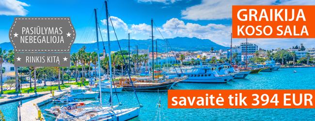Ypatingas rugsėjis Graikijoje, Koso saloje. Savaitė 4* viešbutyje su pusryčiais ir vakarienėmis tik 394 EUR. Išvykimas: rugsėjo 11 d.