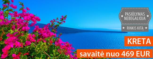 Atostogos Dievų saloje – Kretoje. Savaitė 4* viešbutyje su pusryčiais ir vakarienėmis nuo 469 EUR. Rugpjūčio-rugsėjo datos