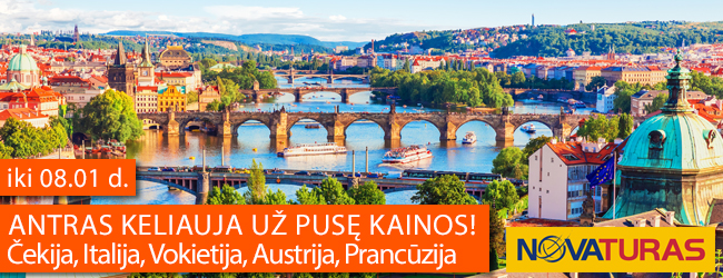Antras keliauja už pusę kainos! Aplankykite Čekiją, Italiją, Vokietiją, Austriją arba Prancūziją. Pasiūlymas galioja iki 08.01 d.