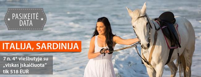 """Praleiskite nepamirštamas atostogas Sardinijoje, 4* viešbutyje, kuris siūlo unikalią galimybę apžiūrėti salą jodinėjant žirgais! 7 n. su """"viskas įskaičiuota"""" tik 518 EUR. Spalio 12 d."""