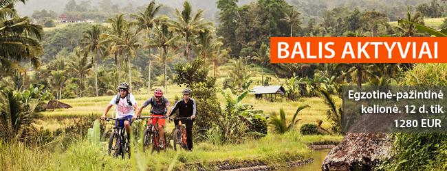Aktyvus laisvalaikis Balio saloje! Žygis po džiungles, plaukimas kalnų upe, kelionė dviračiais, o taip pat įžymių salos vietų lankymas bei poilsis kurorte. 12 dienų tik 1280 EUR