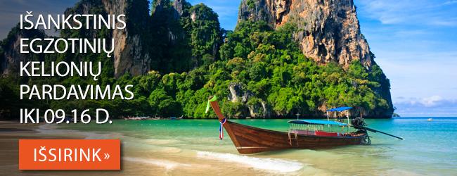 Išankstinis egzotinių kelionių pardavimas tęsiasi! Nuolaidos iki 120 EUR. Pasiūlymai galioja iki 09.16 d.