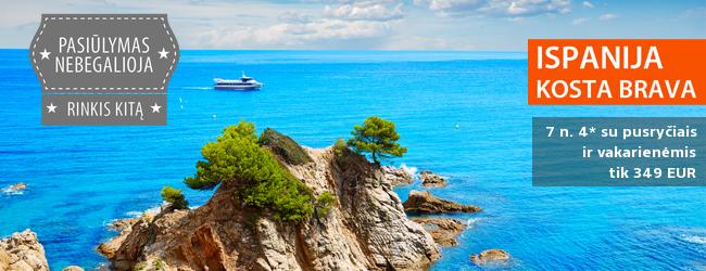 Pasitikite vasarą saulėtoje Ispanijoje, Kosta Brava pakrantėje! Savaitės atostogos 4* viešbutyje su pusryčiais ir vakarienėmis tik 311 EUR! Kelionės data: 2017-05-10