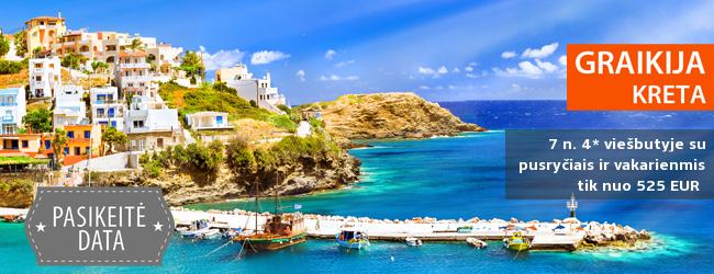 Pavasario atostogos kerinčio kraštovaizdžio ir Antikinės kultūros saloje – Kretoje. 7 nakvynės 4* viešbutyje su pusryčiais ir vakarienėmis tik 385 EUR. Išvykimas: 2017-04-27