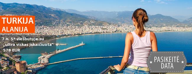"""Prabangios pavasario atostogos Turkijoje! Savaitė puikiame 5* viešbutyje ant jūros kranto su """"ultra viskas įskaičiuota"""" tik 478 EUR. Kelionės data: 2017 m. balandžio 19 d."""
