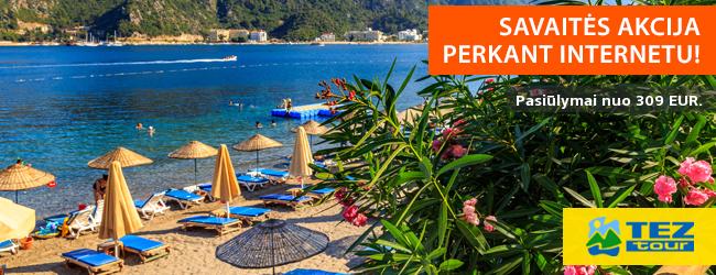 Poilsinės kelionės internetu pigiau! Pasiūlymai nuo 309 EUR. Akcija galioja iki lapkričio 2 d.