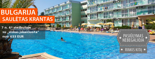 """Šeimos atostogos vidurvasarį Bulgarijoje! Savaitė populiariame 4* viešbutyje su """"viskas įskaičiuota"""" - tik nuo 419 EUR! Kelionės data: 2017 m. liepos 28 d."""