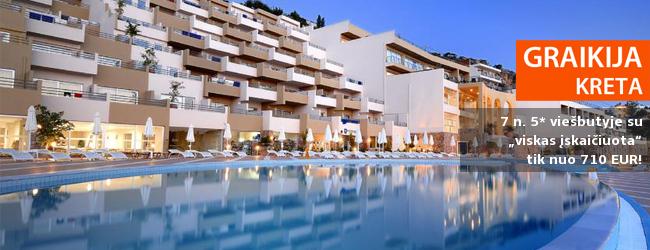 """Kokybiškas poilsis dieviškoje Kretoje! Savaitė 5* viešbutyje su """"viskas įskaičiuota"""" - tik nuo 414 EUR! Kelionės data: 2019 m. gegužės 7 d."""