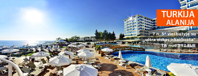 """MODERNUS KOMFORTAS TURKIJOJE: savaitės atostogos Antalijoje 5* viešbutyje su """"ultra viskas įskaičiuota"""" - tik nuo 456 EUR! Kelionės data: 2017 m. gegužės 8 d."""