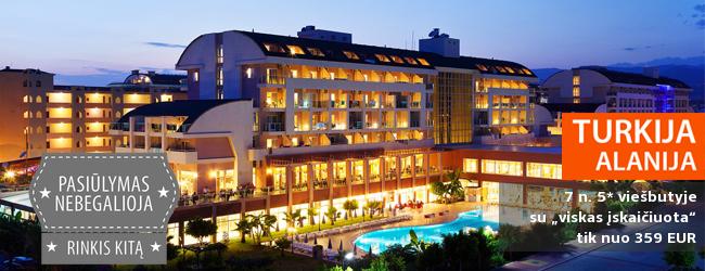 """Planuokite savo kitų metų atostogos jau dabar! Vasaros pabaigoje vykite į Turkiją! Savaitė 5* viešbutyje su maitinimo tipu """"viskas įskaičiuota"""" tik nuo 334 EUR! Išvykimo data: 2017 m. rugpjūčio 30 d."""