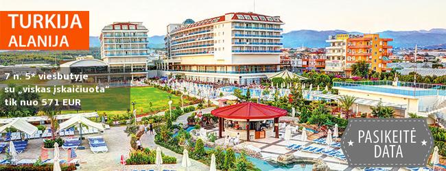 """Smagios šeimos atostogos TURKIJOJE! 7 naktys gerame 5* viešbutyje su """"viskas įskaičiuota"""" - vos nuo 356 EUR! Kelionės data: 2018 m. balandžio 29 d."""