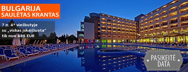 """Šeimų pamėgta BULGARIJA! Savaitės atostogos puikiame 4* viešbutyje SOL NESSEBAR su """"viskas įskaičiuota"""" maitinimu - tik nuo 363 EUR! Kelionės data: 2018 m. rugsėjo 2 d."""