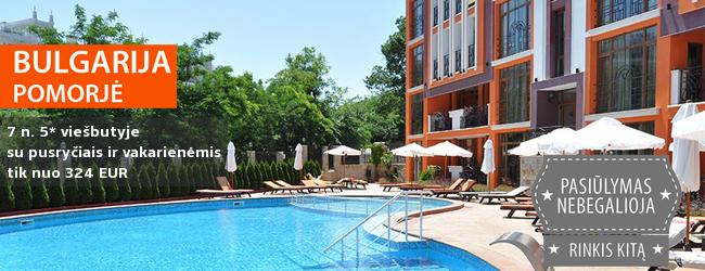 Elegantiškos atostogos saulėtoje Bulgarijoje! Įsimintina savaitė 5* viešbutyje su SPA ir maitinimo tipu su pusryčiais ir vakarienėmis - tik nuo 393 EUR! Kelionės data: 2017 m. rugsėjo 1 d.