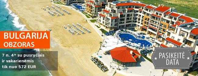 Poilsis saulėtoje BULGARIJOJE! 7 nakvynės 4* viešbutyje OBZOR BEACH RESORT ant jūros kranto su pusryčiais ir vakarienėmis - tik nuo 328 EUR. Kelionės data: 2018 m. birželio 6 d.