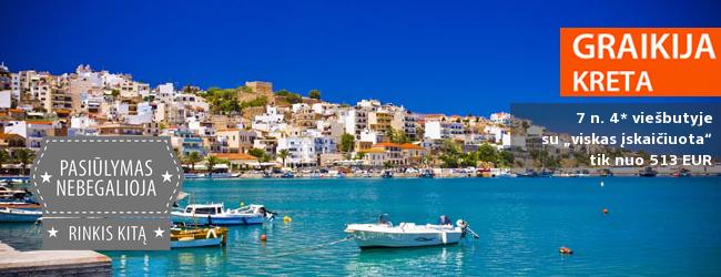 """Vidurvasaris kerinčioje KRETOS saloje! Savaitė labai gerame 4* viešbutyje su """"viskas įskaičiuota"""" - vos nuo 500 EUR. Kelionės data: 2017 m. liepos 12 d."""