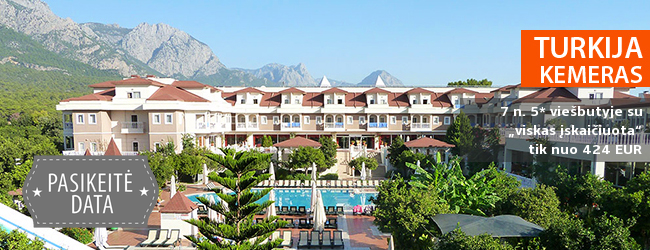 """Vidurvasario atostogos vaizdingoje pakalnėje TURKIJOJE! Savaitė puikiame 4* viešbutyje su """"viskas įskaičiuota"""" vos nuo 422 EUR. Išvykimo data: 2017 m. birželio 27 d."""