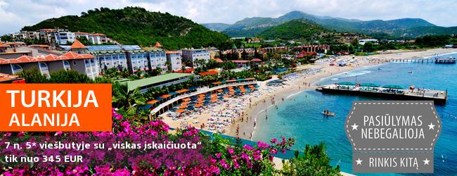 """Praleiskite vasaros atostogas žydros jūros pakrantėje TURKIJOJE! Savaitė gerame 5* viešbutyje Alanijoje su """"viskas įskaičiuota"""" - vos nuo 373 EUR. Išvykimo data: 2017 m. birželio 29 d."""