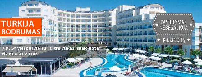 """Šią vasarą smagiai atostogaukite vaizdingame iškyšulyje TURKIJOJE! Savaitė labai gerame 5* viešbutyje su """"ultra viskas įskaičiuota"""" - tik nuo 430 EUR. Kelionės pradžia: 2017 m. birželio 23 d."""