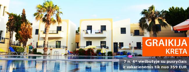 SPECIALUS ADVENTUR PASIŪLYMAS: savaitės atostogos Kretos saloje GRAIKIJOJE, 4* viešbutyje su pusryčiais ir vakarienėmis - tik nuo 359 EUR! Galimos kelios datos. Tik parodos laikotarpiu!