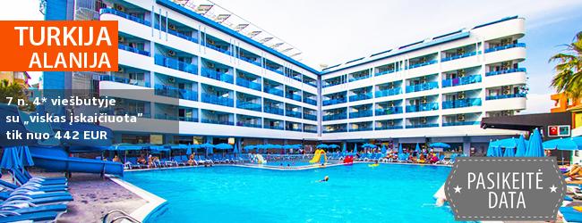 """Kokybiškas poilsis TURKIJOJE, mėgaujantis aptarnavimu, SPA ir Antalijos kurortu. Savaitė gerame 4* viešbutyje su """"viskas įskaičiuota"""" - tik nuo 435 EUR! Kelionės data: 2017 m. spalio 17 d."""